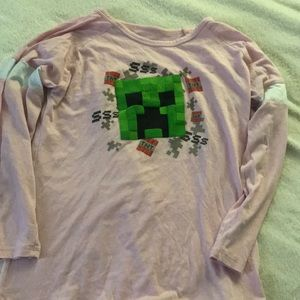 Pink long sleeve Minecraft t-shirt